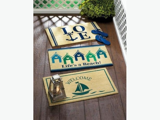 Coastal Nautical Rug Doormat & Accent Throw Pillow 3PC Mixed Lot