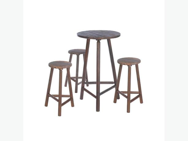 Indoor Outdoor Bar Table & Stools Set 4PC Brand New Wood