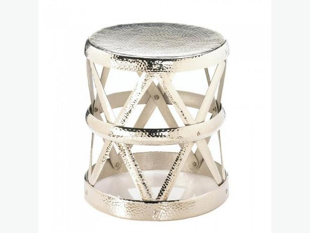 Shiny Silver Hammered Metal Drum Style Plant Stand Stool Accent Side End Table