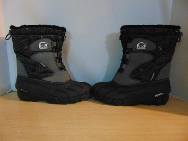 Winter Boots Child Size 5 Sorel Black Grey With Liner Excellent