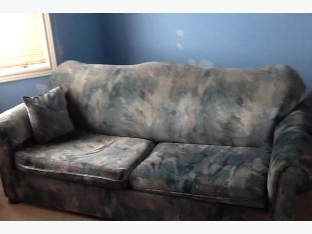 two seat pull out sofa  and throw pillow