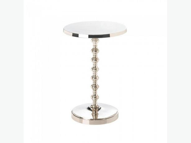 Shiny Silver Metal Pedestal Accent Side End Table Plant Stand Round Top & Base