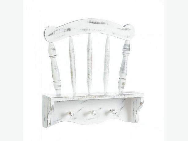 Shabby Chic Distressed White Multi-Hook Wall Shelf Chair Floral 2 Lot Mix&Match