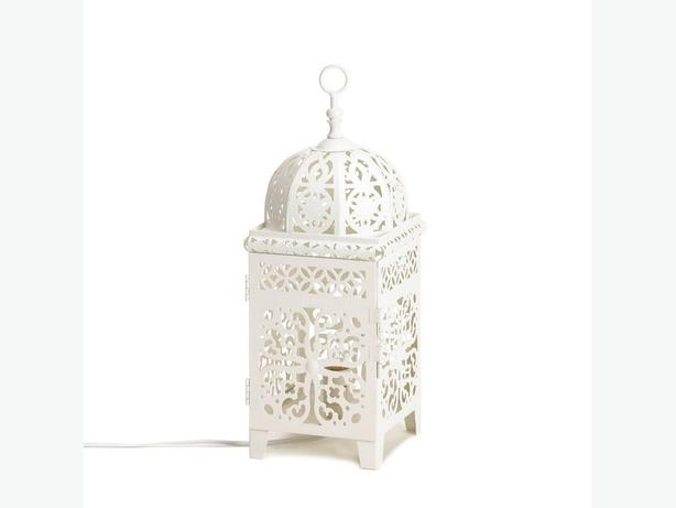 Unique White Electric Lantern Table Lamp Intricate Cutout Detailing Set of 4 New