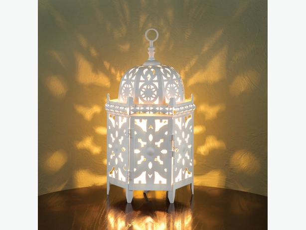 Unique White Moroccan-Style Electric Lantern Table Lamp Intricate Cutouts 2 Lot