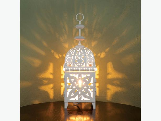 White Electric Lantern Table Lamp Intricate Cutout Detailing Set of 2 New