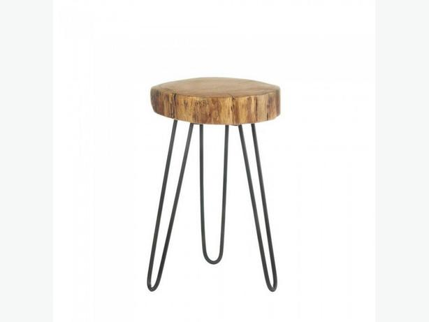 Accent Side Table Stool Seat Plant Stand with Round Wood Log Top & Metal Legs