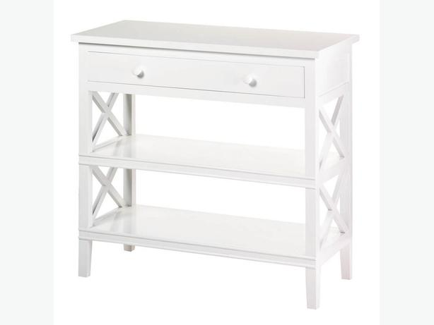 White Wood Console Hall Table with Drawer & 2 Shelves Brand New