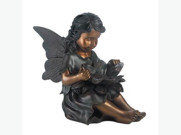 Indoor Outdoor Bronze-Look Fairy Angel Statue Ornament Flower Accent Set of 2