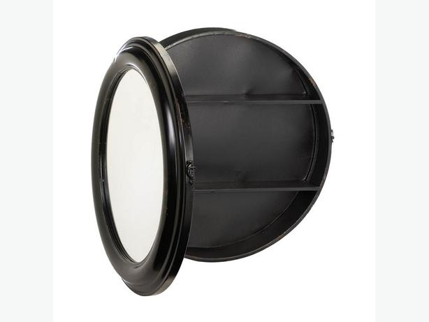 Round Black Metal Wall Mirror Port-Hole Style Hidden Storage Medicine Cabinet