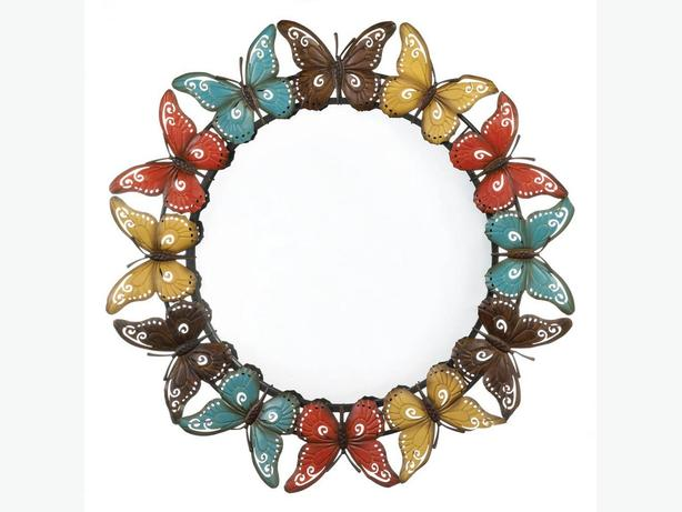 Large 3-Foot Round Metal Wall Mirror Multi-Color Butterfly Frame Brand New