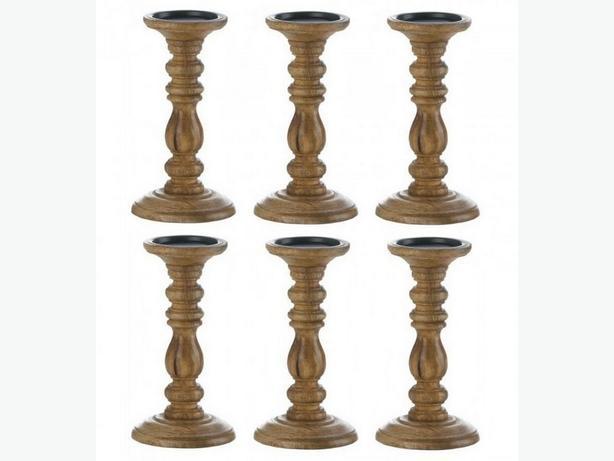 Turned Wood Pedestal Spindle Candleholder Set of 6 Brand New