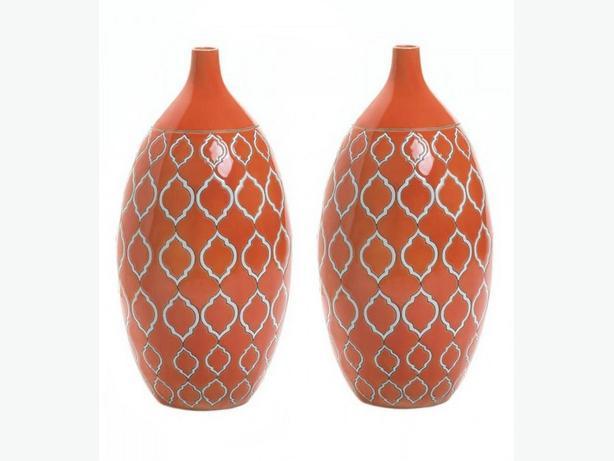 Orange Stoneware Vase Brand New Set of 2