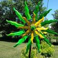 Sunburst Metal Windmill Yard Ornament Dual Spinner Brand New