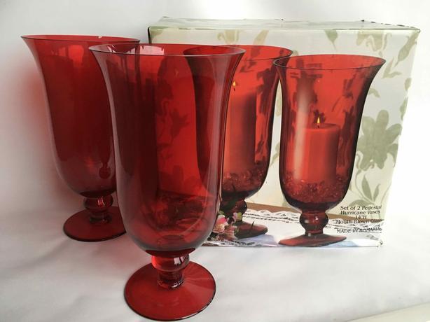 Set of 2 Hurricane Vases - Mouth Blown Pedestals