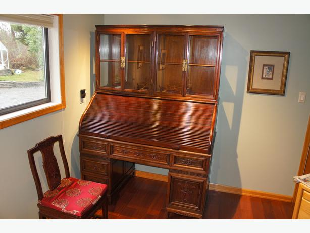 Solid rosewood roll top desk & chair