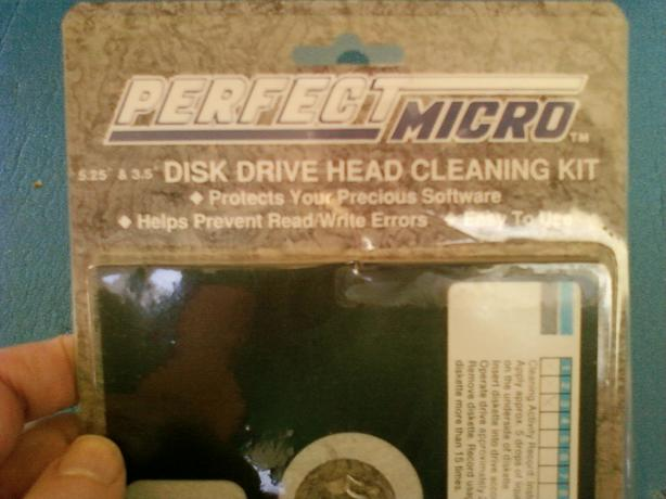 "FREE: 5.25"" floppy drive head cleaner"