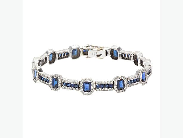 "14K White Gold 7.5"" Natural Blue Sapphire & Diamond Tennis Bracelet (I-32449)"