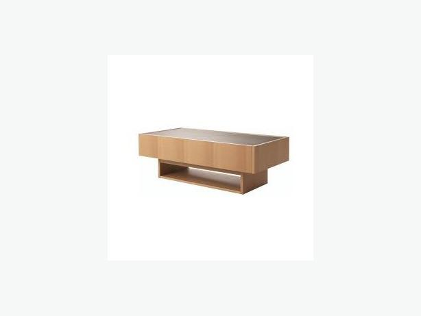 Modern Ikea Ramvik Coffee Table Storage Dark Oak Glass For Sale