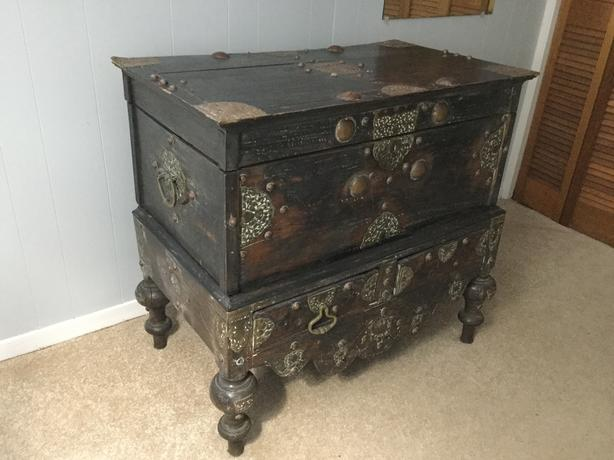 Dutch colonial teak chest with seperate base.