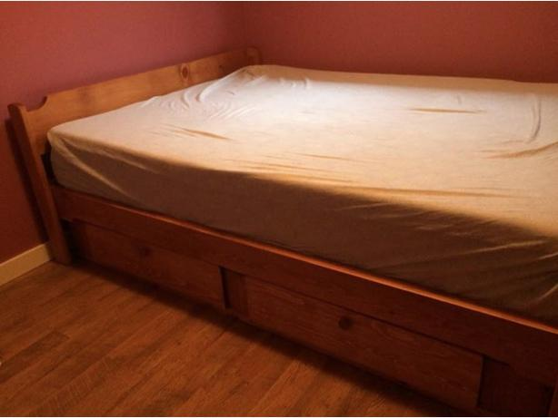 Beautiful Solid Wood Queen Bed Frame and Drawers, made in BC