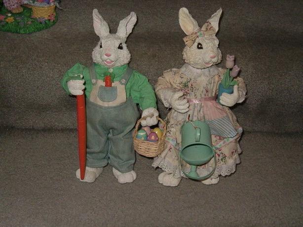 Easter or spring farmer rabbit set