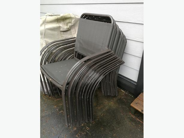10 Dark Brown Stackable Metal Outside Chairs
