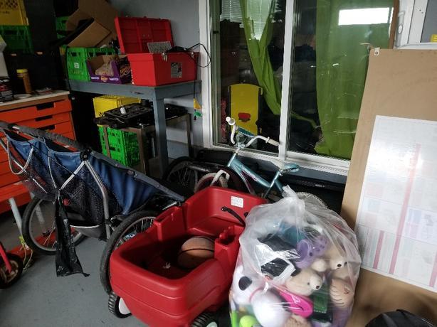 Crib, Mattress, Bedding, Stuffies, Wagon (sold), Push Cars
