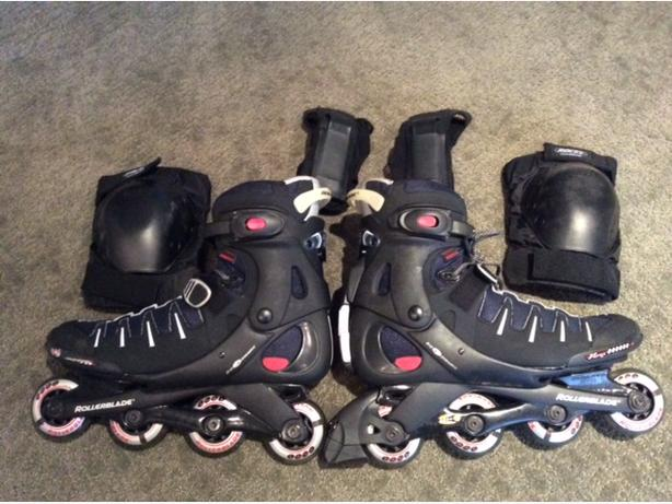 Men's Size 11.5 Rollerblades (The Skate Co.) + Knee and Elbow Pads