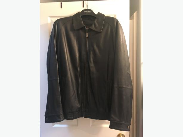 MENS DANIER BLACK LEATHER JACKET LIKE NEW