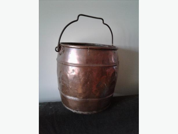Antique Copper Grain Bucket