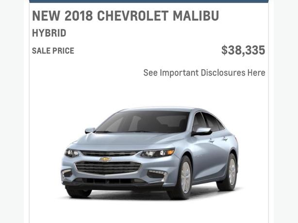 "55 MPG 2018 Malibu Hybrid. Call ""Les the CarGuy"" Today!!!"