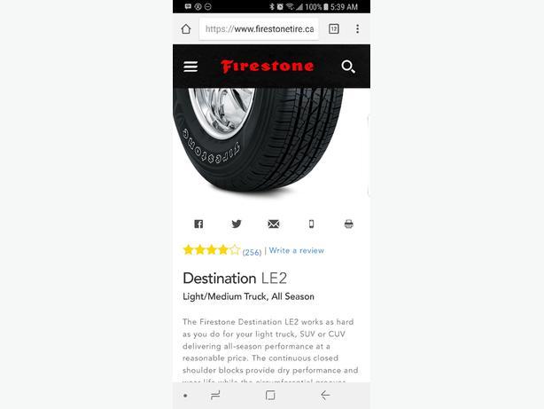 New firestone LE2 tires P265/65R17