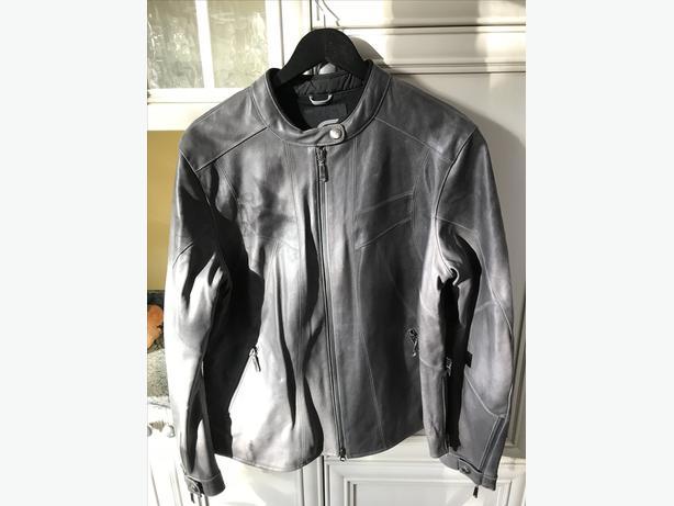Ladies Grey XL Leather Motorcycle jacket