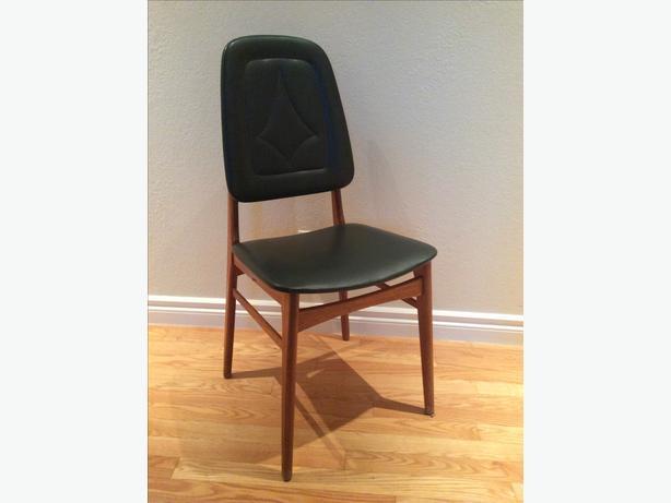 Mid-century teak chair, retro upholstery