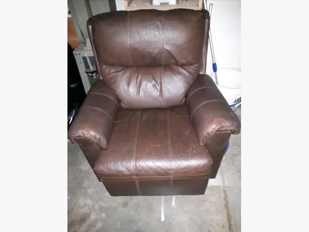 Brown leather recliner/rocker