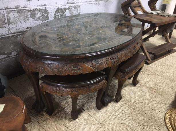 Carved Chinese Tea Table With 6 Carved Stools