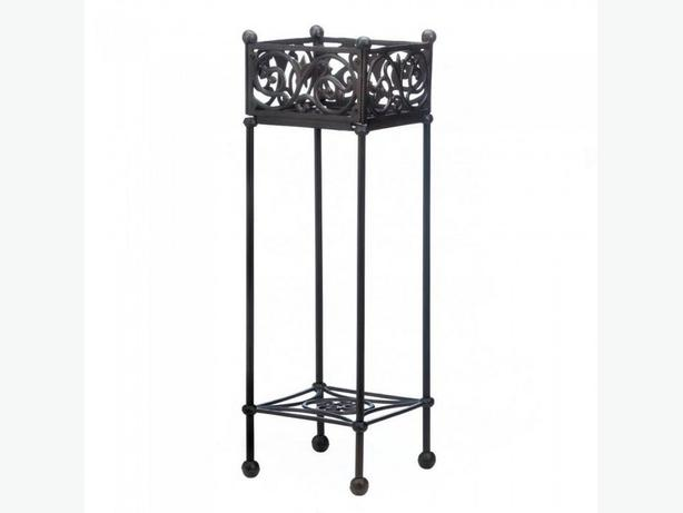 Filigree Cast Iron Square Plant Stand with Bottom Shelf Brand New