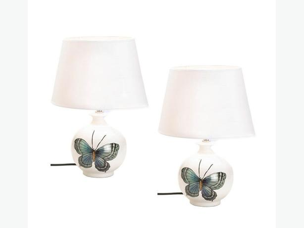 White Ceramic Table Lamp with Pretty Butterfly Motif Set of 2 Brand New