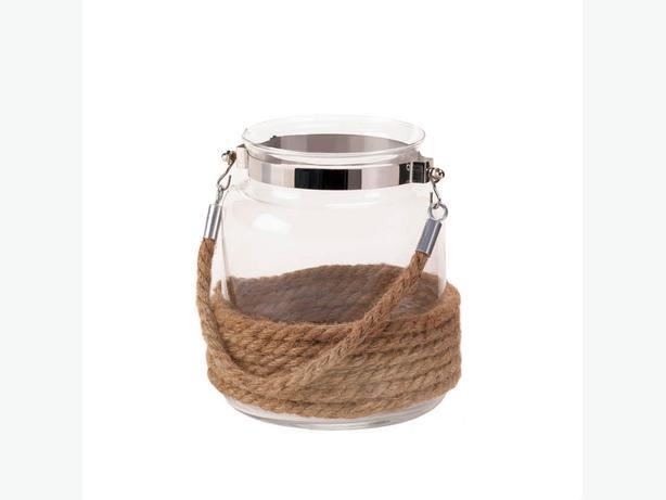 Rope-Wrapped Jar Candleholder with Rope Handle Nautical Coastal Set of 4 New