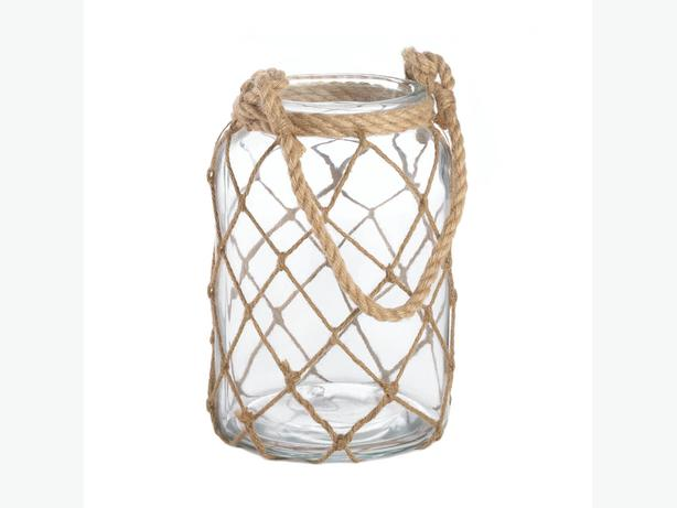 Large Fisherman Net Decorative Jar Candleholder 2 Lot Nautical Brand New