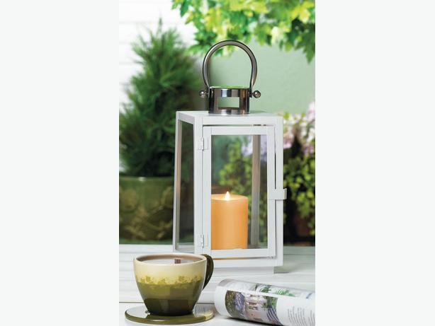 White Metal Candle Lantern Clear Glass Panels Silver Top & Handle 3 Lot
