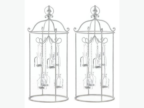 Cottage Chic White Metal Mini Glass Bottle Carousel Candleholder Centerpiece 2PC