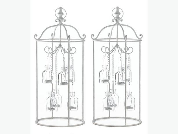 Cottage Chic White Metal Mini Glass Bottle Carousel Candleholder Centerpiece 2PC