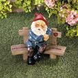 Indoor Outdoor Gnome on a Bench Statue Figurine Ornament 2 Styles Mixed New