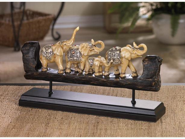 Carved Elephant Figurine Ornament Display Wood-Look Unique Totem Shape 2PC Mix