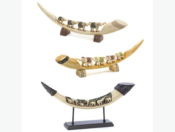 Parading Elephants Faux Tusk Sculpture 3 Styles Mixed Brand New