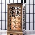 Rustic Wood LED Flameless Candle Lantern with Floral Cutouts Set of 8 New