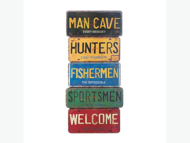 License Plate Wall Decor Art Signs 2 Designs Mixed Mancave Brand New