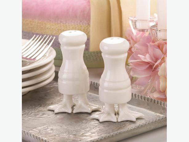 White Porcelain Duck Feet Salt & Pepper Shaker Set Bulk Buy of 12 Resale